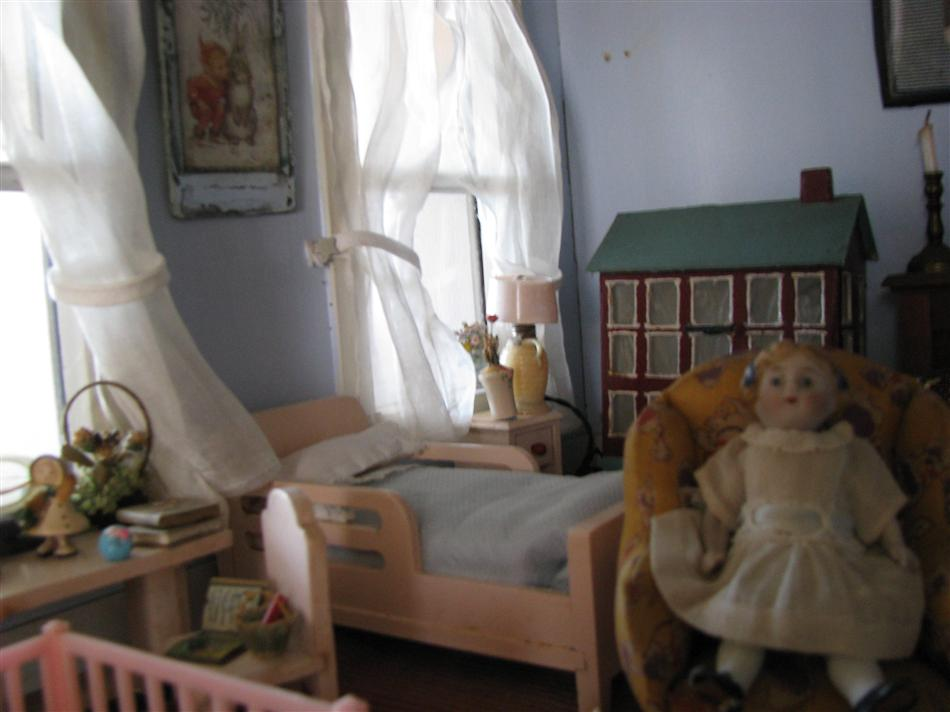 Close up of the child's room in the Langsdorf dollhouse
