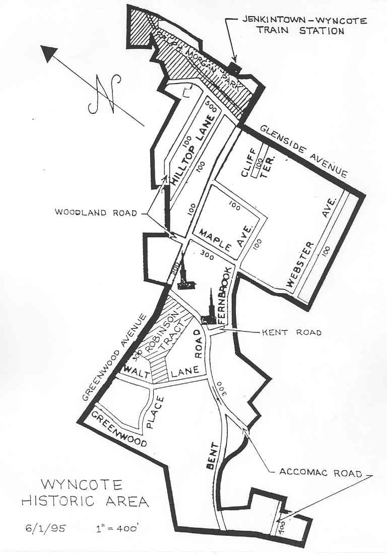 Map of the Wyncote Historic Area